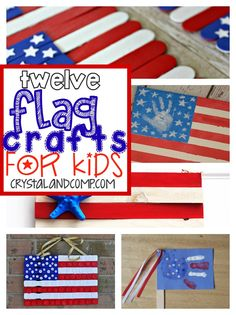 Are you looking for some red, white and blue ideas for your little ones? Check out these 12 flag crafts for kids that will be sure to put you in the Fourth of July spirit! Summer Activities For Kids, Fun Crafts For Kids, Summer Crafts, Craft Activities, Preschool Crafts, Holiday Crafts, Art For Kids, Patriotic Symbols, Patriotic Crafts