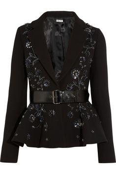 Miu Miu's elegant black jacket is cut from subtly structured wool-crepe. The waist-cinching belt and flouncy peplum sculpt a feminine silhou...
