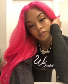 2020 Pink Hair Lace Frontal Wigs Silver To Pink Hair Pink Brazilian Wig Light Pink Pixie Cut Frontal Hairstyles, Baddie Hairstyles, Black Girls Hairstyles, Weave Hairstyles, Straight Hairstyles, Simple Hairstyles, Pretty Hairstyles, Lace Front Wigs, Lace Wigs