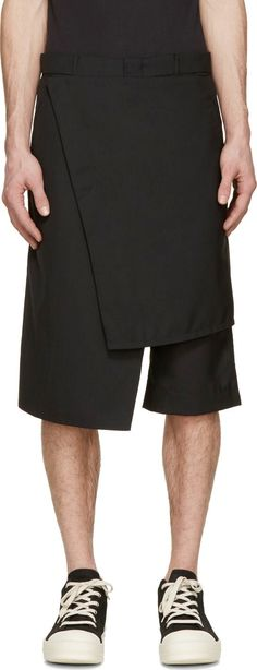 Visions of the Future: D.Gnak by Kang.D Black Wool Wrap Shorts