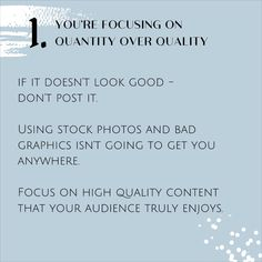 1. YOU'RE FOCUSING ON QUANTITY OVER QUALITY  2. YOUR HASHTAGS DON'T WORK  3. YOU DON'T UNDERSTAND YOUR AUDIENCE  4. YOU'RE NOT FOCUSING ON THE RIGHT METRICS  5. YOUR PROFILE ISN'T OPTIMISED FOR GROWTH