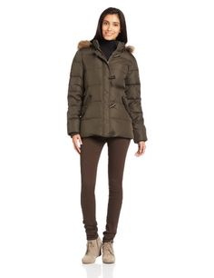 Tommy Hilfiger Womens Short Hooded Down Bomber Jacket with Toggle Closures Loden Large *** Check out the image by visiting the link.