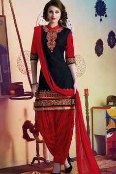 Black & Red Pure Cotton Unstitch Patiala Suit