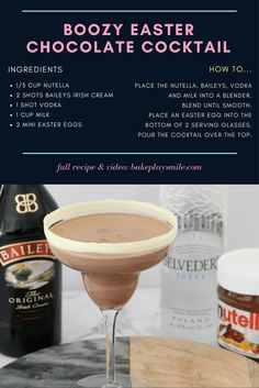 This Boozy Easter Chocolate Cocktail really is the ultimate party drink! Made from baileys, vodka, milk, nutella & a sneaky easter egg hidden at the bottom!