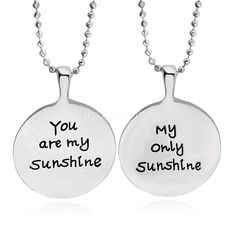 """2pcs """"You are my Sunshine"""" Necklace Set My Only Couples or Mother and Daughter #Unbranded #Pendant"""