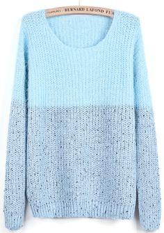 Blue Contrast Grey Long Sleeve Mohair Sweater - Sheinside.com