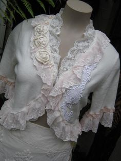 upcycled shabby chic.. sweater, cardy, lacey and roses creation.. soft pinks and cream,  one of a kind .. MED - LGE