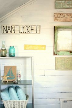 Love the sign, the jars, the shells, the white with just that right POP of color