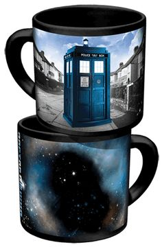 I have this doctor who mug...the TARDIS disappears on one side and reappears in space...love it!