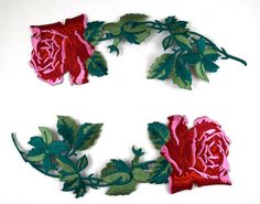 This patch features a beautiful red rose with delicate and realistic green leafs and stems in an elegant and modern shape. The rose is embroidered