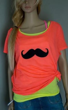 Neon Orange Mustache Oversized Top TShirt by RedPanic on Etsy, $22.00