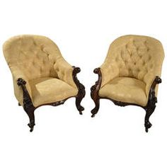 Pair of Solid Rosewood Victorian Period Antique Armchairs