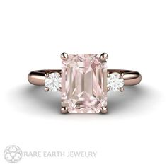 2ct Pink Morganite Ring Morganite Engagement Ring by RareEarth