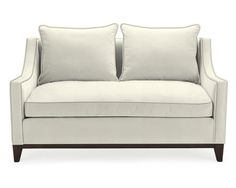 Our Presidio loveseat is a contemporary classic inspired by the graceful proportions of vintage Parisian furniture. Slim, scooped arms give it a sense of refinement, while loose back cushions invite relaxation. Williams Sonoma, Ebony Legs, Contemporary Classic, Modern, Frame Crafts, Mortise And Tenon, Decoration, Driftwood, Love Seat