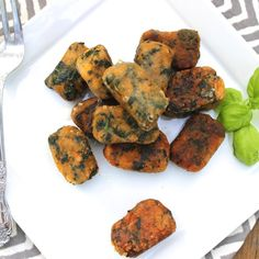 Spinach + Sweet Potato Crispy Gnocchi – a delicious flavor combo! #food #paleo #grainfree #glutenfree #dairyfree #maindish #gnocchi #sweetpotato #spinach