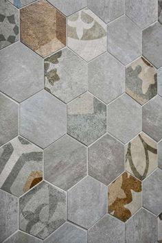 Cementine esagonali in cucina - Cementine per le pareti della cucina -  hexagonal cement tiles for kitchen wall