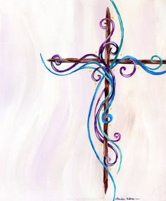 Colorful Easter Cross Acrylic Painting Fine Print in Magenta, Violet, Royal Blue, and Emerald