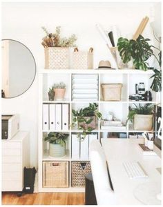 Ikea Cube Shelves, Ikea Kallax Bookshelf, Shelf Desk, Wall Shelves, Home Office Design, Home Office Decor, Home Decor, Office Ideas, Ikea Office