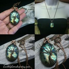 Tree of life copper wire wrapped on flashy Labradorite from Madagascar/ cancer survivor necklace