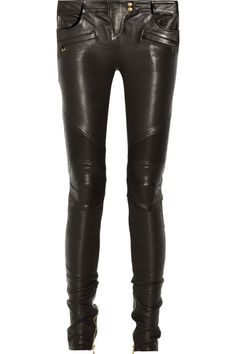Balmain leather motocross-style skinny pants