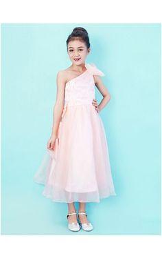 One Shoulder Tea-length Organza And Lace Junior Bridesmaid Dress