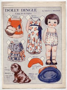 Vintage DOLLY DINGLE BEACH PAJAMAS/PICNIC/WHOOPEE DOG paper dolls 1931 uncut