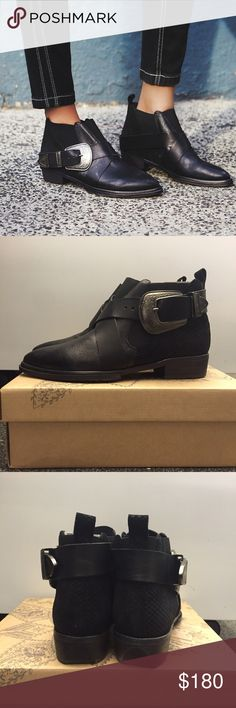 NWB Free People Maverick Chelsea - EU 38/US 7.5-8 Never worn -- Western-inspired black leather ankle boot with etched metal buckle accent. Stacked heel, pointed toe. New with box, EU size 38/US 7.5-8, Free People! Free People Shoes Ankle Boots & Booties