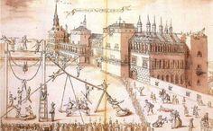 En la tipología  palacial se fueron ubicando poco a poco lugares específicos destinados al teatro. De esta forma en el  Alcázar madrileño se usaba el Salón dorado o cuarto de la Emperatriz, habitáculo rectangular bastante alargado, cubierto con un bello artesonado de madera al modo mudéjar, al cual se accedía por la fachada principal y que comunicaba con los dos patios. A mediados de 1660 se construyó el Salón de comedia que se utilizaría también para las mascaradas y banquetes.