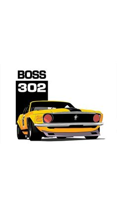 (notitle) - Cars and motorcycles - Motorrad Ford Mustang Boss, Mustang Cars, Car Illustration, Illustrations, Audi, Porsche, Car Vector, Vector Graphics, Automobile