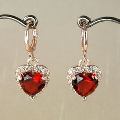 E3 18K ROSE GOLD PLATED DANGLE HEART EARRINGS with RUBY RED ZIRCONIA CRYSTAL