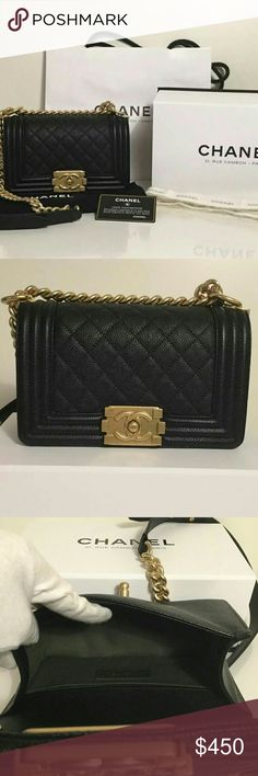 """Authentic Chanel Bag Description  Vintage gold hardware  Durable quilted caviar leather  Lined in fabric with two slip pockets  Interlaced chain strap with 21"""" drop  Chanel CC logo on flap  Measures ~ 8"""" x 5"""" x 3""""  Made in France?  Additional Information   Complete with box, dust bag, ribbon, authenticity card, and shopping bag. CHANEL Bags Shoulder Bags"""