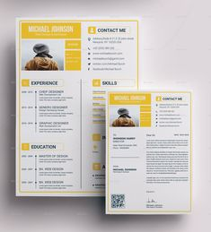 """Buy Resume Bundle by on GraphicRiver. Resume Bundle 3 in 1 """" Resume """" is a super clean, modern and professional resume cv template to help you land that gr. Resume Design Template, Cv Template, Resume Templates, Design Resume, Simple Resume, Creative Resume, Modern Resume, Cv Design, Page Design"""