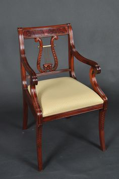 Lyre Back Dining Room Chairs. Harp Back Dining Chairs, Solid Mahogany