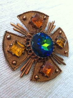 Bronze and Amber DODDS Maltese Cross with by 20thCenturyFoxy