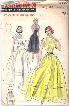 Vintage 1951 Butterick 5776 Evening Dress or by Recycledelic1