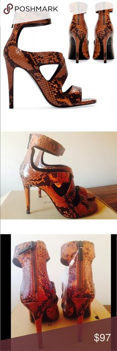 ZARA Leather Brown & Black Snakeskin Ankle Heels 8 ZARA GOAT LEATHER SNAKE SKIN PRINT SANDALS  SIZE: EUR 39, US 8, UK 6              New with tags & box bottom SOLD OUT in store and online Zara Shoes Heels