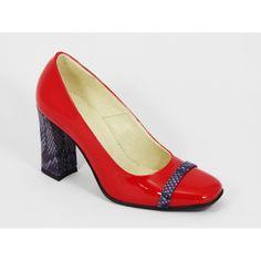 Pantofi dama piele lac rosii toc 8 cm Irina Material exterior: piele naturala…
