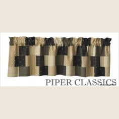 """Peppermill Lined Patched Valance - Black, cream and beige mini prints combine for fresh country style, coordinating beautifully with our Star Vine Dinnerware. Fully Lined, 100% cotton. Dry Clean for best results and to prevent shrinkage. Size, 60"""" wide x 14"""" long."""