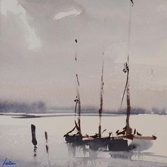 Watercolor Art Landscape, Watercolor Water, Watercolour Painting, Landscape Paintings, Boat Painting, Watercolour Tutorials, Painting Techniques, Art Photography, Seafarer