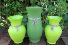 Hand Painted Vases Set of Three by SwiftRiverCreations on Etsy, $14.00
