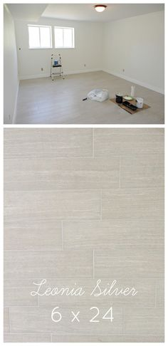 "Leonia Silver wood plank tile from Lowe's in the 6x24""(Common: 6-in x 24-in; Actual: 5.75-in x 23.75-in). Item #: 486467 