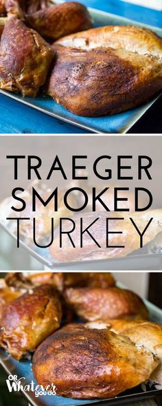 Traeger Smoked Turkey is going to quickly become your new favorite turkey method. Put away the gallons of oil free up your oven and go ahead and donate that giant electric roaster that you only pull out once a year to someone else because youre going Traeger Recipes, Grilling Recipes, Vegetarian Grilling, Healthy Grilling, Barbecue Recipes, Barbecue Sauce, Traeger Smoked Turkey, Masterbuilt Smoked Turkey, Traeger Chicken