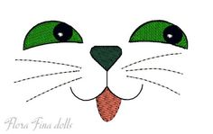 Retro vintage style cat doll face Machine Embroidery Design