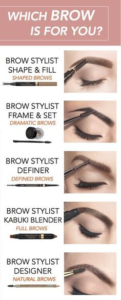 5 different brow looks featuring L'Oreal Brow Stylist eyebrow makeup products: Shape & Fill for shaped brows, Frame & Set for dramatic brows, Definer for defined brows, Kabuki Blender for full brows, and Designer for natural brows.