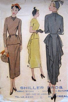 Vintage 1940s Screen Siren Dress Pattern Dramatic Swan Draping Slim Front with Peplum Evening Theatre Cocktail McCalls 7881 B36