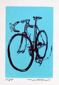 Bike Art Print  Classic Cinelli Road Bicycle  by bicyclepaintings, $20.00