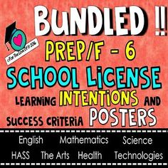 User License This license enables you access to each subject and grade level of my Learning Intentions and Success Criteria Posters. This means, one teacher per grade Level (Strictly No more than 7 teachers) If you have more than 7 Teachers in the school, please purchase an additional user