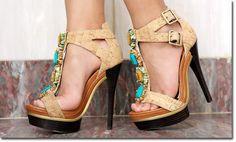 Jeweled T-Strap heels.