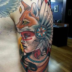http://tattoomagz.com/tattoos-by-drew-shallis/awesome-woman-with-fox-head-tattoo-by-drew-shallis/