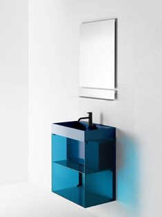 RGB Shelving System by Stefan Diez for Burgbad: Goodbye hair-pulling instruction novels and hello snap-into-place shelving. The color-forward tinted glass and aluminum has innovative assembly that allows just that. Available in assorted colors, the wall-mounted system can be used on tile, wallpaper, or plaster.